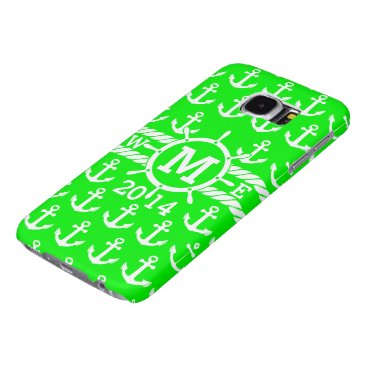 Personalized Neon Green Nautical Anchors Pattern Samsung Galaxy S6 Case
