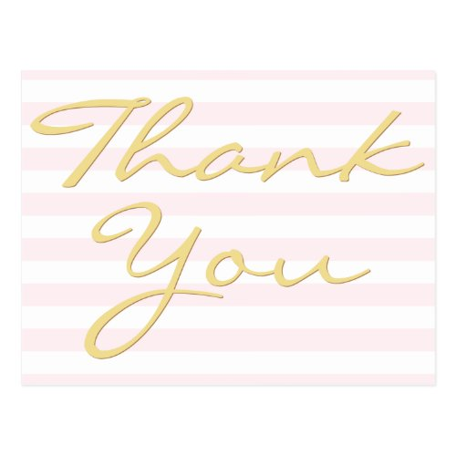 Personalized Note Modern Elegant Stripes Thank You Postcard