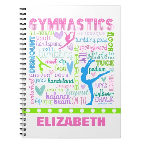 Personalized Pastel Gymnastics Words Typography Notebook