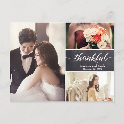 Personalized Photo Collage Wedding Thank You Announcement Postcard