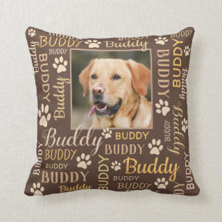 Personalized Photo Names | Brown Dog Pillow
