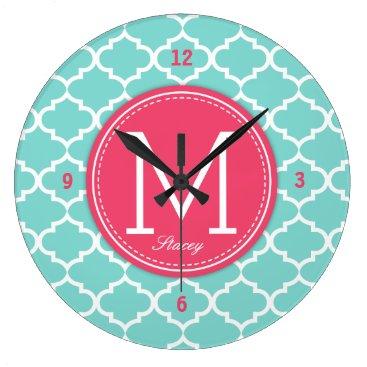 Personalized Pink & Blue Quatrefoil with Monogram Large Clock