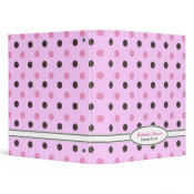 Personalized Pink & Brown Polka Dot Binder