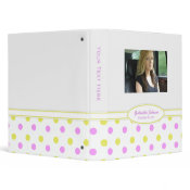 Personalized Pink & Yellow Polka Dot Binder