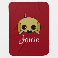 Personalized Playful Puppy Swaddle Blanket