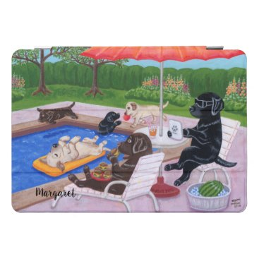 Personalized Pool Party Labradors 2 Painting iPad Pro Cover