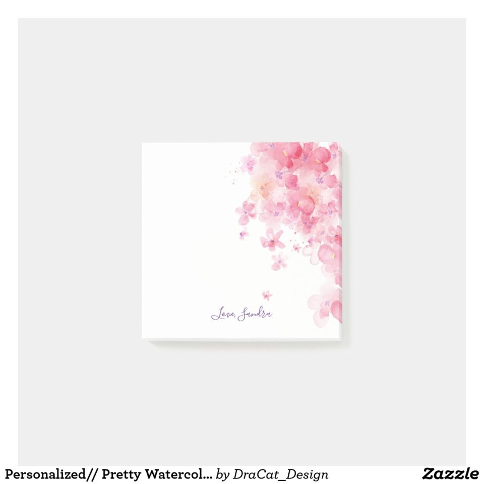 Personalized// Pretty Watercolor Flowers Post-it Notes