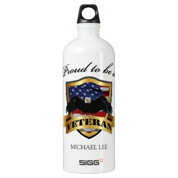 """Personalized """"proud to be a Veteran"""" Aluminum Water Bottle"""