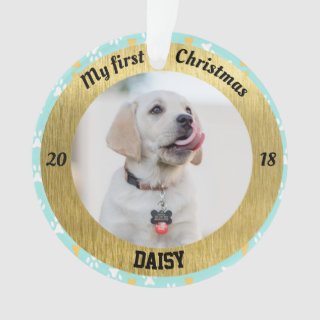 Personalized Puppy's First Christmas Photo Ornament
