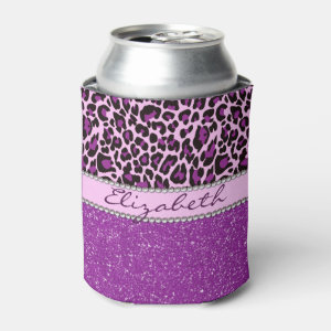 Personalized Purple Leopard Print Glitter Can Cooler