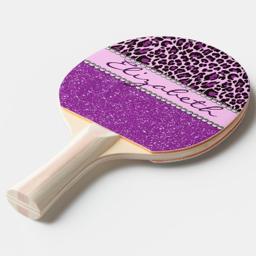 Personalized Purple Leopard Print Glitter Ping-Pong Paddle
