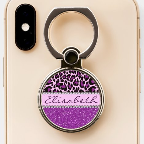 Personalized Purple Leopard Spots Glitter Phone Ring Stand