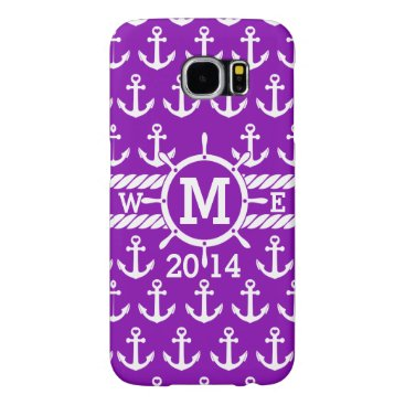 Personalized Purple Nautical Anchors Pattern Samsung Galaxy S6 Case