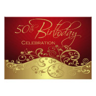 Personalized Red & Gold 50th Birthday Invitations