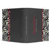 Personalized: Red Trimmed Zebra Binder
