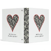 Personalized Red Trimmed Zebra Heart Binder