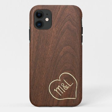 Personalized Red Wood Texture w/ heart & initials iPhone 11 Case