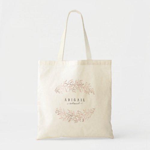 Personalized rose gold elegant botanical foliage tote bag