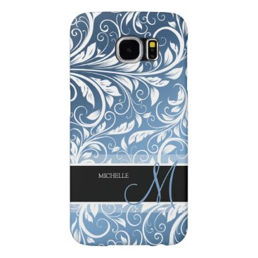 Personalized Royal Blue & White Floral Damask Samsung Galaxy S6 Case