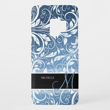 Personalized Royal Blue & White Floral Damask Case-Mate Samsung Galaxy S9 Case