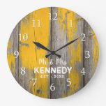 Personalized Rustic Distressed Wood Farmhouse Large Clock