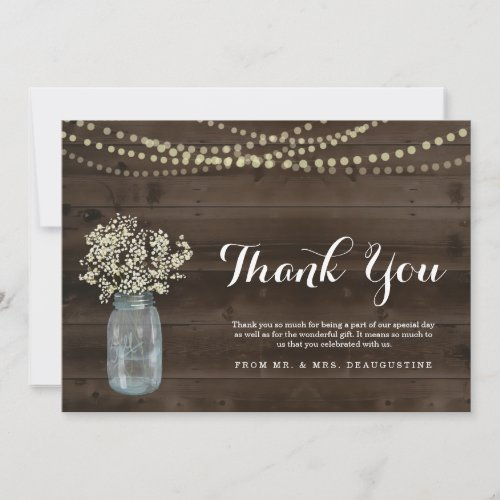 Personalized Rustic Wood & Fairy Lights Thank You Card