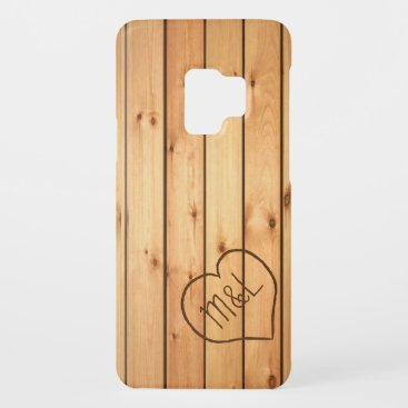 Personalized Sauna Wood Panels w/ Heart & Initials Case-Mate Samsung Galaxy S9 Case