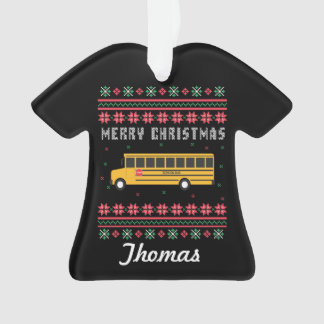 Personalized School Bus Ugly Christmas Sweater Ornament