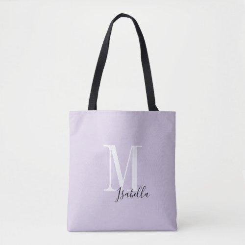 Personalized simple name and monogram purple tote bag