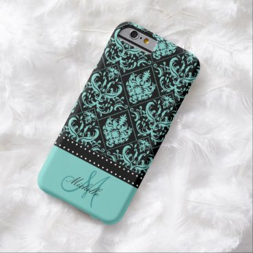 Personalized Teal Blue & Black Damask Barely There iPhone 6 Case
