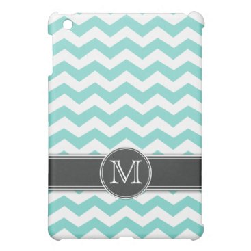 Personalized Teal BLue Chevron with mongram iPad Mini Case