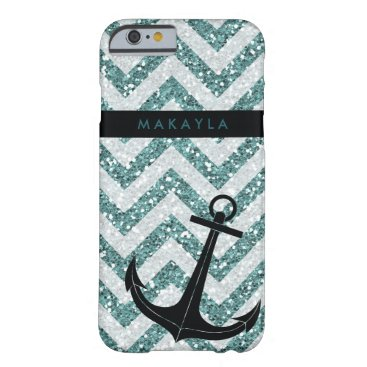 Personalized Teal Glitter Chevron with Anchor Barely There iPhone 6 Case
