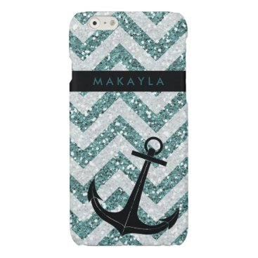 Personalized Teal Glitter Chevron with Anchor Glossy iPhone 6 Case