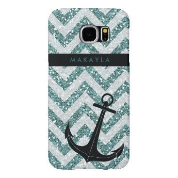 Personalized Teal Glitter Chevron with Anchor Samsung Galaxy S6 Case
