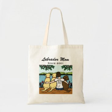 Personalized Three Labradors and Mom Tote Bag