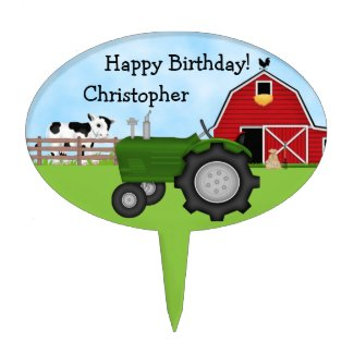Personalized Tractor and Barn Birthday Cake Topper