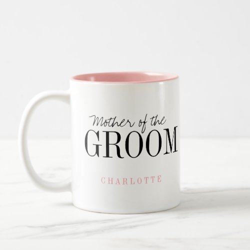 Personalized typography mother of the groom mug