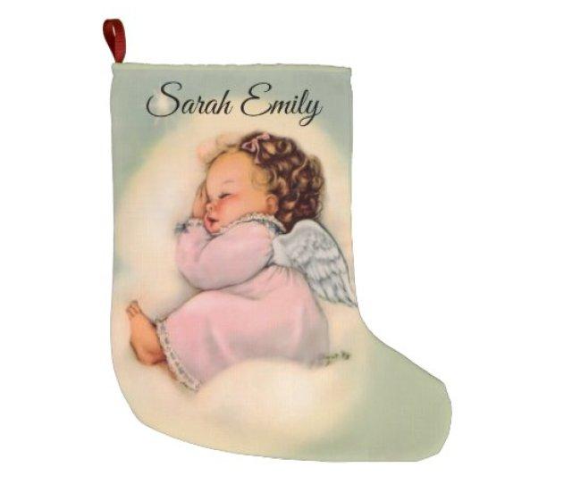 Personalized Vintage Baby Girl Angel Sleeping Large Christmas Stocking