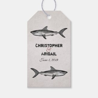 Personalized Vintage Shark Wedding Gift Tags Pack Of Gift Tags