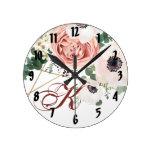 Personalized Wall Clock Geometric Garden Rose Anem