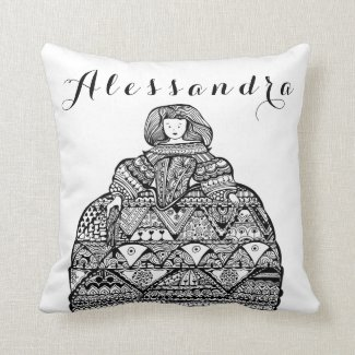 Personalized Whimsy Doll Doodle art Throw Pillow