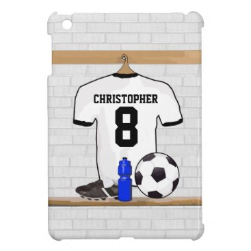 Personalized White Black Football Soccer Jersey iPad Mini Cover