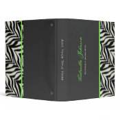Personalized Zebra Trimmed Binder