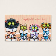 Pet Groomer Spa Dogs Cat Robes Peach Business Card