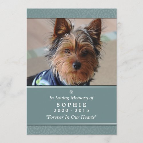 Pet Memorial Card 5x7 Teal God's Garden Poem