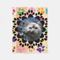 Pet Paw Frame on Paws Fleece Blanket