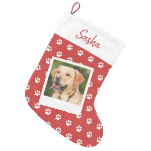 Pet Paw Print Personalized Name and Photo Small Christmas Stocking