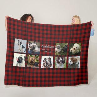 Pet Photo Collage Blanket - Buffalo Plaid - Memory