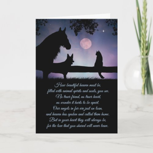 Pet Sympathy Card, Dog, Cat and Horse Card