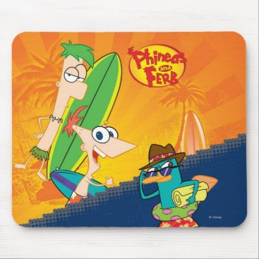 Phineas, Ferb and Agent P Surf Mouse Pad